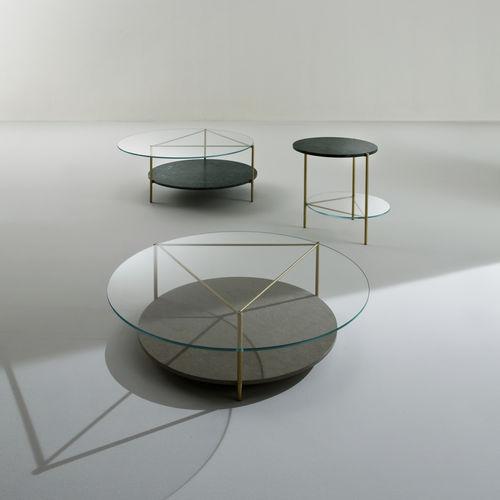 tavolino moderno / in cristallo / in ottone / in marmo