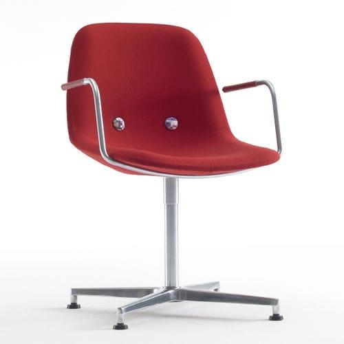 sedia da conferenza con braccioli / imbottito / in tessuto / in acciaio inossidabile