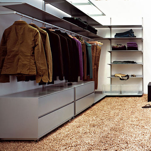 cabina armadio da parete / ad angolo / moderna / in metallo laccato