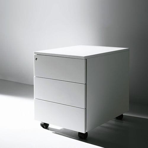 cassettiera per ufficio in metallo / 3 cassetti / con rotelle / di Piero Lissoni