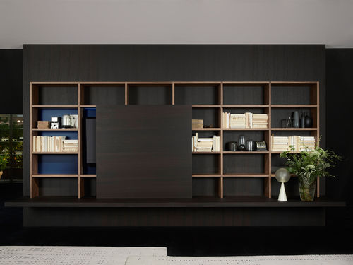 libreria moderna / per ufficio / in legno laccato / in alluminio