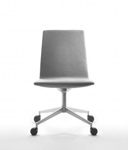sedia da conferenza moderno / imbottito / con rotelle / in tessuto