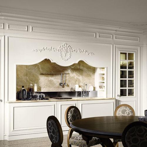 Cucina classica / in legno laccato / con impugnature / senza ...