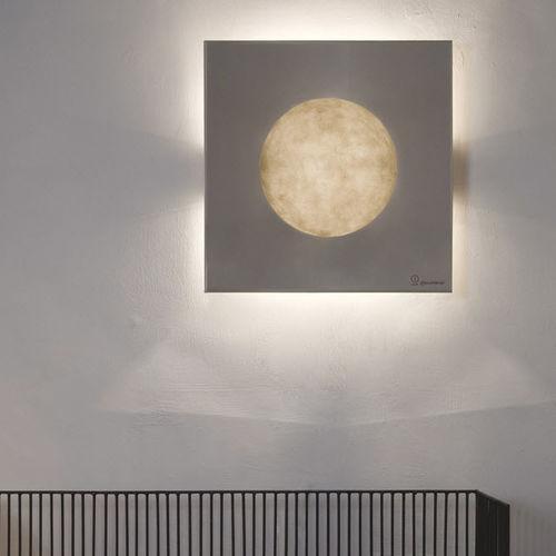 Applique moderna / in acciaio / in Nebulite® / alogena LUNA : WASHMACHINE in-es artdesign