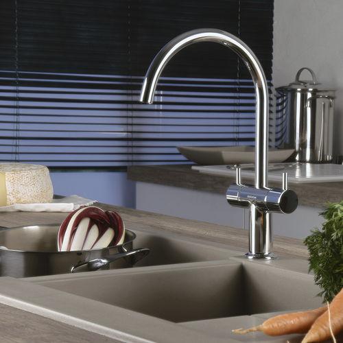 miscelatore doppio comando da appoggio / in metallo cromato / in acciaio / da cucina