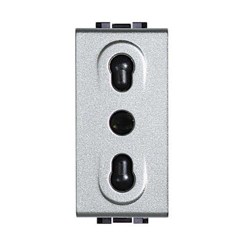 presa di corrente / da parete / in metallo / moderna