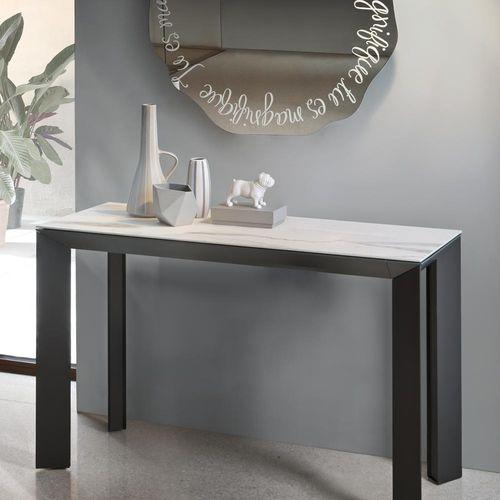 consolle moderna / in vetro temprato / in alluminio verniciato / in ceramica