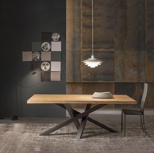 tavolo da pranzo moderno / in legno / in cristallo / in alluminio