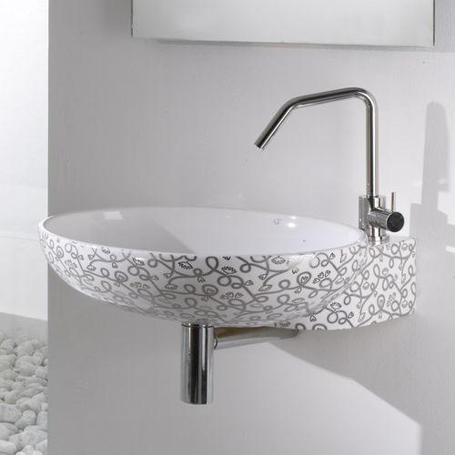 lavabo sospeso / ovale / in ceramica / moderno