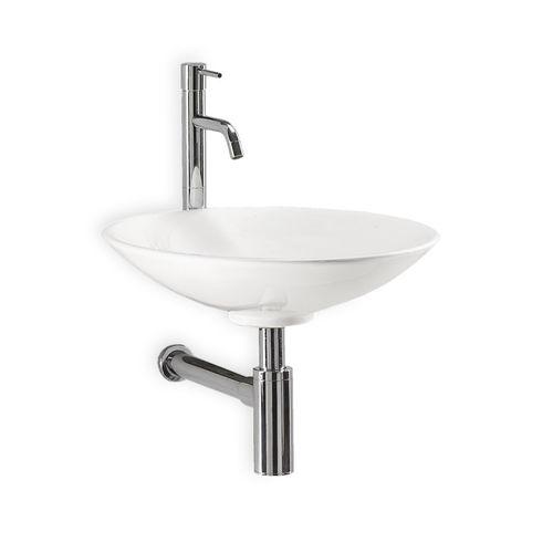 lavabo sospeso / tondo / in ceramica / moderno