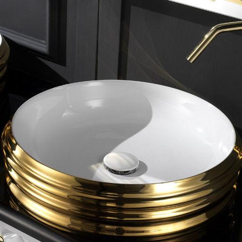 lavabo da appoggio / tondo / in ceramica / design originale