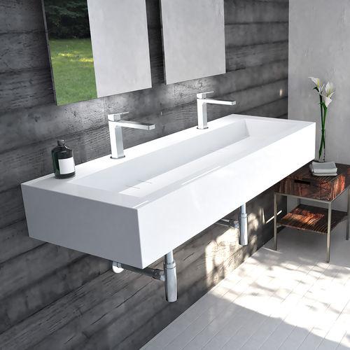 lavabo doppio / sospeso / rettangolare / in Pietraluce®