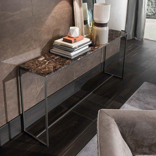 consolle moderna / in metallo / in marmo / rettangolare