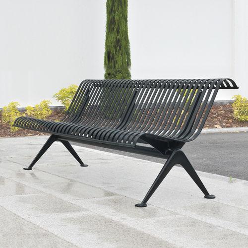 panca pubblica / moderna / in metallo / con schienale