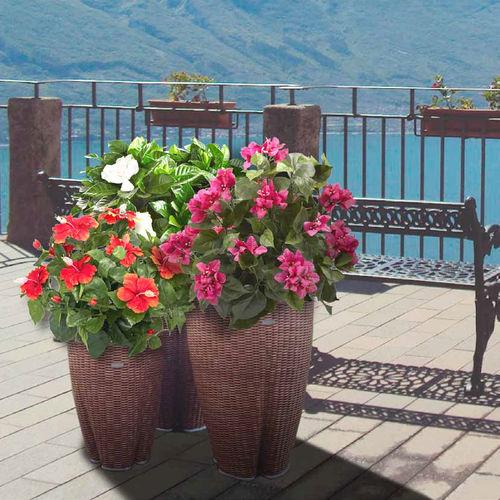 vaso da giardino in resina intrecciata / conico