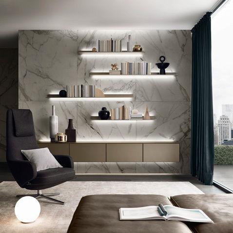 Parete attrezzata per soggiorno moderna / in vetro   self by ...