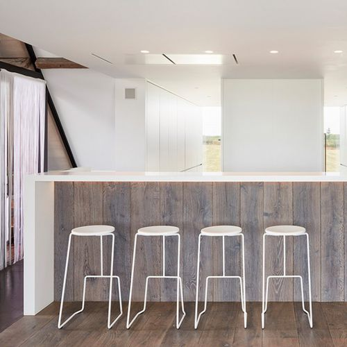 sgabello da bar moderno / in acciaio con rivestimento a polvere / con poggiapiedi / impilabile