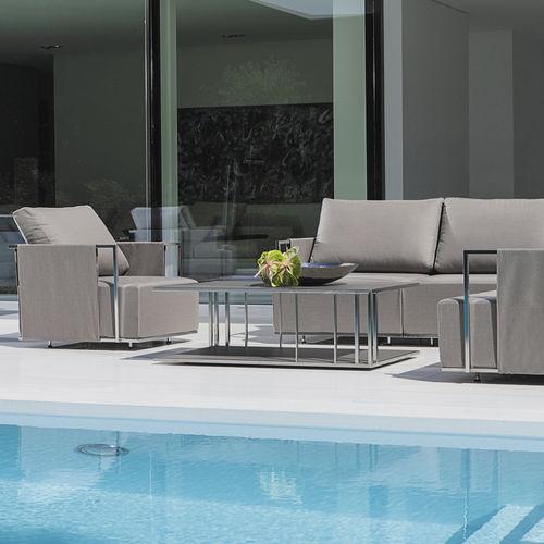 tavolino basso moderno / in acciaio inossidabile / rettangolare / da giardino