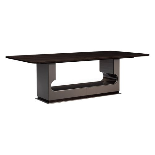 tavolo moderno / in legno / in pelle / rettangolare