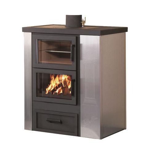 stufa-caldaia a legna / moderna / in metallo / con forno