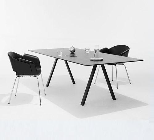 tavolo da riunione moderno / in quercia / in acciaio / rettangolare