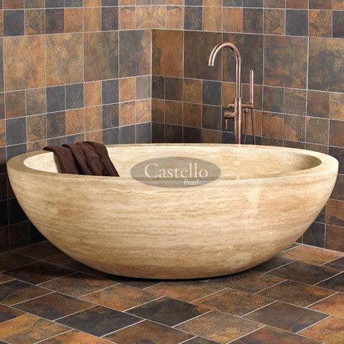 vasca da bagno da appoggio / ovale / in pietra naturale