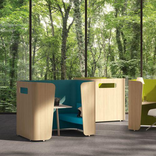 divisorio per ufficio a pavimento / in tessuto / in legno / modulare