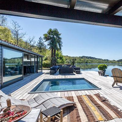 piscina interrata / in legno / su misura / coperta