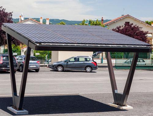 tettoia per posto-auto in legno / in acciaio galvanizzato / contract