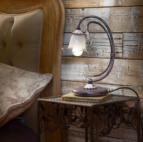 lampada da comodino / classica / in metallo / in vetro