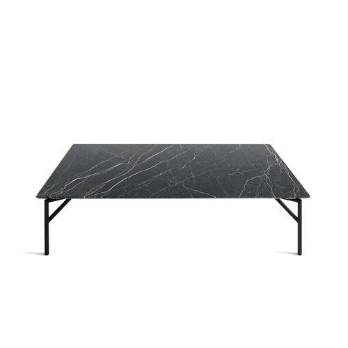 tavolino basso moderno / in metallo / in pelle / in marmo