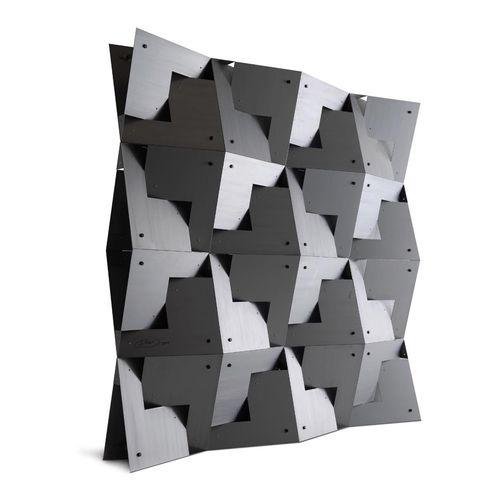 paravento design originale / in ebano / in metallo spazzolato