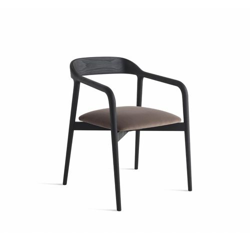 sedia moderna / imbottita / con braccioli / legno