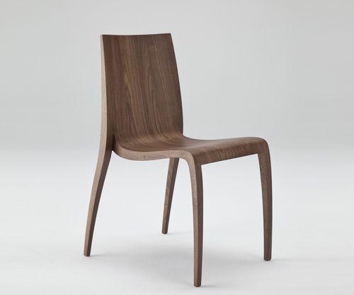 sedia moderna / in frassino / in poliuretano / nera