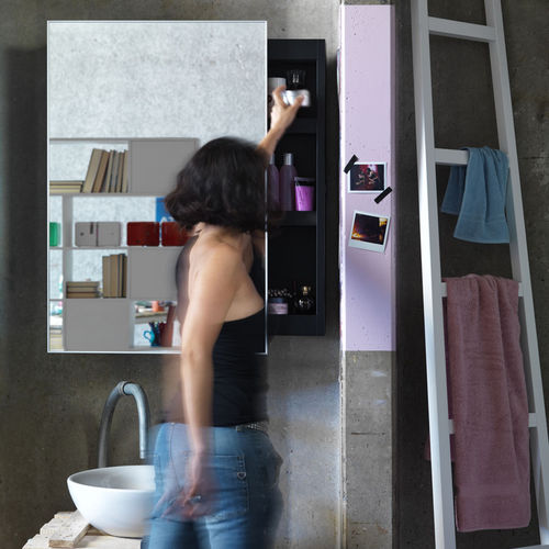 specchio a muro / con contenitore / moderno / rettangolare