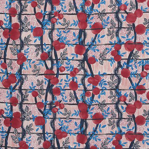 tessuto per tende / a fiori / in lino / con motivo stampato