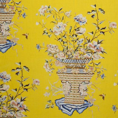 tessuto per tende / a fiori / in lino / ricamato