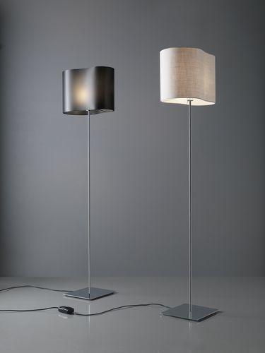 lampada da terra / moderna / in metallo cromato / in fibra di vetro