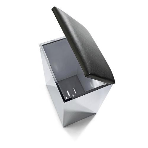 sgabello moderno / in acciaio inossidabile / in ecopelle / con contenitore