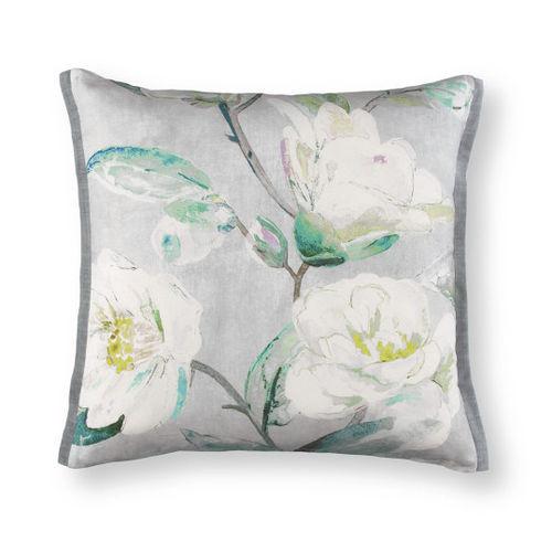 cuscino quadrato / motivo floreale / in lino / multicolore