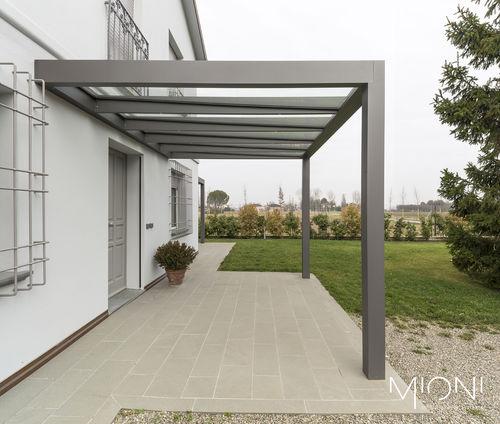 tettoia per terrazza / in alluminio / in vetro / per uso residenziale