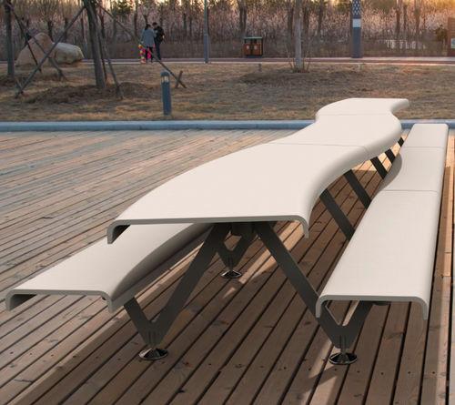 set tavolo e panca design originale / moderno / in acciaio / in calcestruzzo