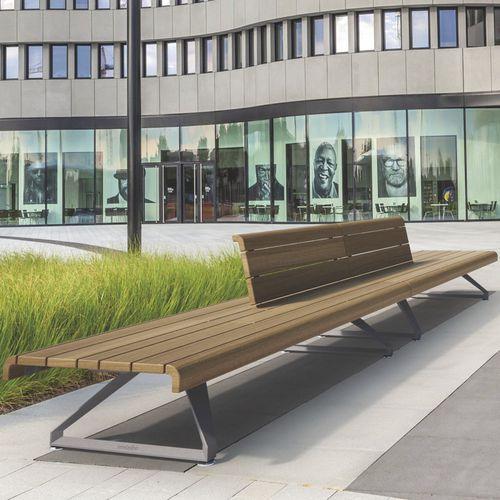 panca pubblica / moderna / in legno esotico / in alluminio