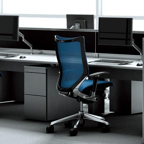 poltrona da ufficio moderna / a rete / alluminio / con rotelle