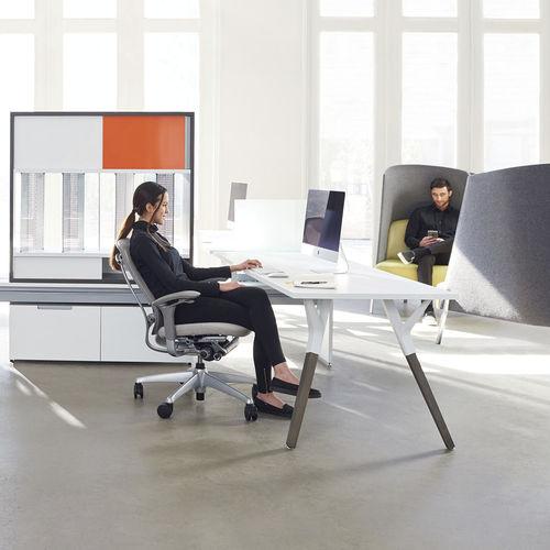 tavolo da lavoro moderno / impiallacciato in legno / in metallo / rettangolare
