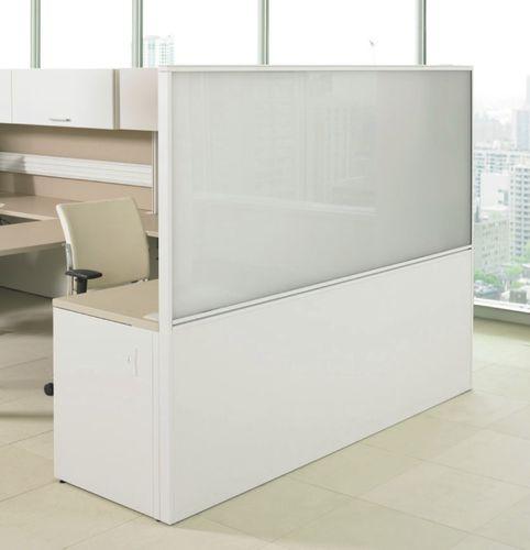 divisorio per ufficio a pavimento / da bancone / in vetro / in laminato