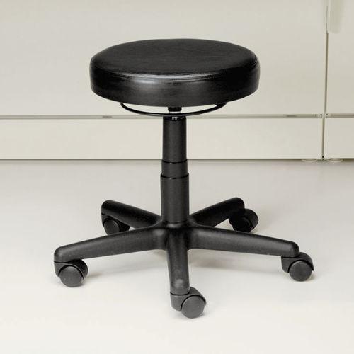 sgabello da ufficio in pelle / con rotelle / ad altezza regolabile / imbottito