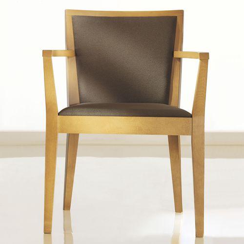 sedia visitatore moderna / con braccioli / imbottita / in ciliegio