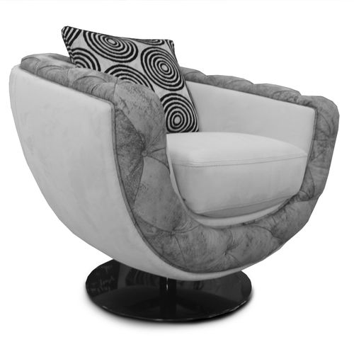 poltrona Art Deco / in tessuto / in pelle / girevole