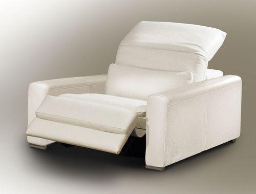 poltrona moderna / in tessuto / in pelle / con poggiapiedi
